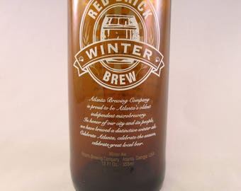 YAVA Glass - Recycled RED BRICK Winter Brew Bottle Glass