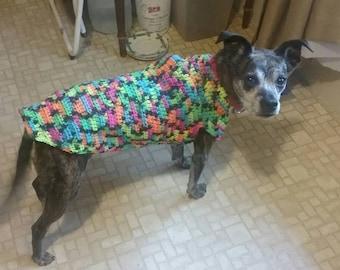 Crochet, Dog Sweater-coat beginners Pattern, free shipping.