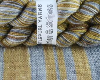 In My Element - Hand-dyed Self-striping Glitter sock yarn