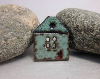 Rustic Ceramic House Button...Summer Cottage...Turquoise Green Walls/MIdnight Blue Roof