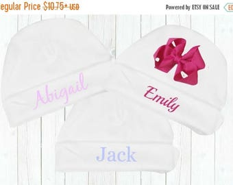 SALE Personalized Newborn White Cotton Knit Hat with or Without Bow, Embroidered Coming Home Hospital Hat