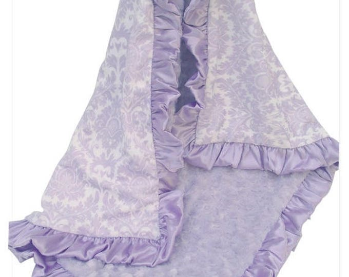 SALE Light Purple Lavender Damask Minky Baby Blanket for Baby Girls, Minky Baby Blanket Can Be Personalized