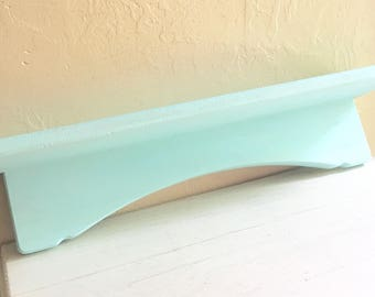 Pretty Light Blue Wood Wall Shelf with Wooden - Painted with Chalk Paint