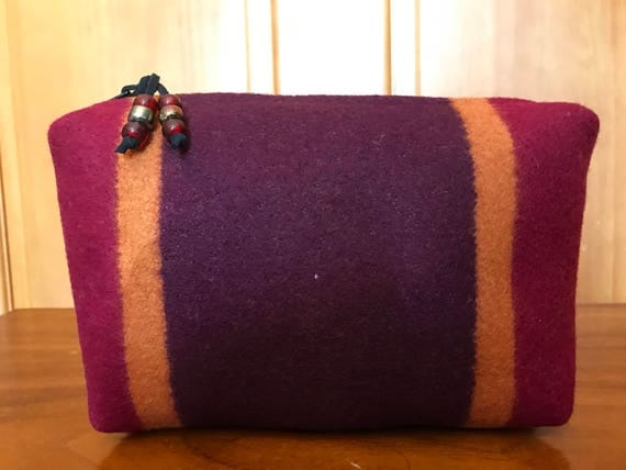 Cosmetic Bag / Makeup Bag / Zippered Pouch XL Wool Eggplant Bold Stripes