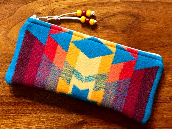 Wool Sunglasses Case / Glasses  Case / Tampon Case / Zippered Pouch Turquoise Overall