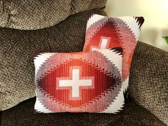 Wool Pillow Cover Pair of 2 / Accent Pillow Covers 16 x 12 Sienna Red & Brown