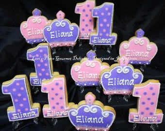 Princess 1st Birthday - 12 Cookies