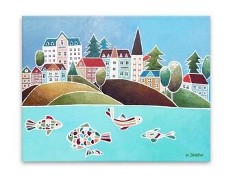 Cityscape Art Coastal Wall Art, Harbor Wall Art Nautical Decor, Whimsical Art Original Painting on Canvas