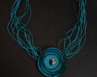 50% OFF SALE Leather blue color elegant floral necklace Jewelry Pendant Statement