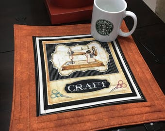 Vintage Sewing Machine mug rug - Quilting Treasures - Dan Morris - Thimble Pleasures Panel Sewing Themed - oversized coaster - mini placemat