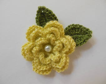 Crocheted Flower with Leaves - Yellow and Green - Acrylic Flower - Crocheted Flower Applique - Crocheted Flower Embellishment