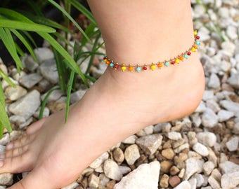 Multi Color Anklet, Crystal Drops Anklet, Boho Anklet, Bohemian style anklet, Summer anklet, Beach Jewelry