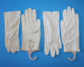 Vintage White Gloves, 2 Pair,  One Kid Leather, 1950's
