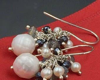 SALE Pearl Cluster Earring Labradorite Black Spinel Pyrite Ivory Pearl Wire Wrap Earring Ivory White Laser Facet Pearl Sterling Silver Earri