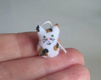 Calico cat plush felt miniature stuffed animal