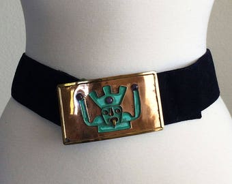 Vintage Mexican Copper Belt and Buckle Mayan Aztec Warrior, Copper, Brass, Patina, Stones 1950-60s