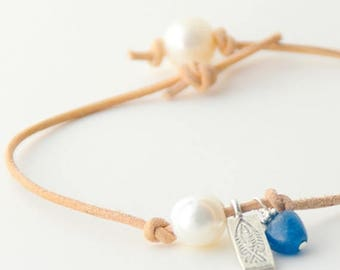 Charm Anklet. Apatite, Freshwater Pearl, Karen Thai Hill Tribe Silver, Fish Charm and Natural Leather