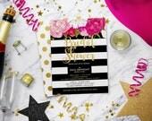 Bridal Shower Invitation   Floral Bridal Shower Invitation   Kate   Stripes Striped Invite   Gold   Black White   Print Your Own   Spade