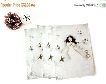 30% Off - Summer SALE 30 Percent Off - Summer SALE Set of 4 Greeting Cards + 4 White Envelopes - Winter Wonderland
