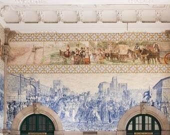 Portugal photography, São Bento Porto Train Station, Wall Mural and Mosaic detail, Portuguese architecture, cobalt blue, Portugal