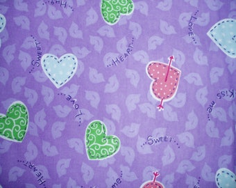 9 Yards of Soft Beautiful Lavender Flannel with Little Hearts Fabric