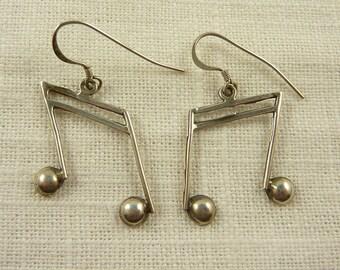 Vintage Sterling Musical Note Dangle Earrings