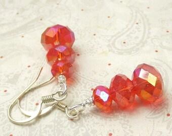 SALE, 50%, Orange Czech faceted glass with AB coating dangle earrings, halloween earrings, orange earrings, holiday earrings