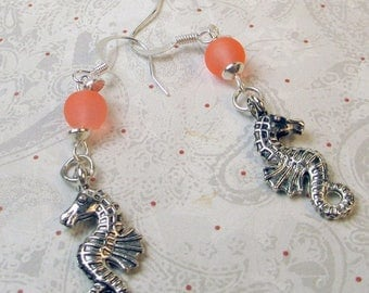 SALE, 50%, Seahorse charm with coral frosted bead dangle earrings, silver seahorse earrings, coral bead earrings, seahorse earrings