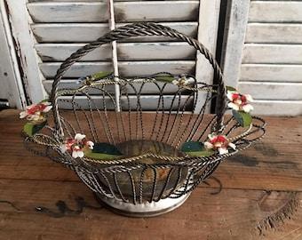 Silverplate Basket with enameled Flowers, Brides Basket, Vintage Silverplate, Silverplate Bridal Wire Basket Vintage 1960s