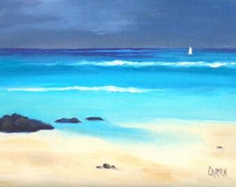 Seascape, Storm Watch, 6x8 Original Oil Painting on Canvas Panel