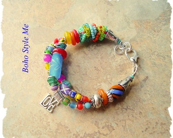 Boho Colorful Bracelet, Bohemian Beaded Jewelry, Handmade, Vibrant Recycled Glass Bracelet, Boho Style Me, Kaye Kraus