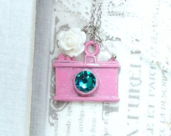 Pink Camera Necklace Photography Lover Camera Charm Necklace Photographer Gift Camera Jewelry