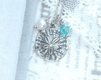 Sand Dollar Necklace Silver Sea Necklace Ocean Charm Necklace Sand Dollar Jewelry