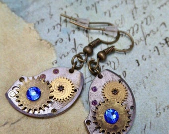 Steampunk ear gear - Element of atomic numbers - Steampunk Earrings - Sapphire Swarovski Crystals - One of a kind - gift for her