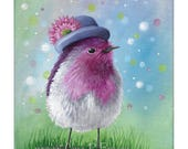 Blank Note Card of a Pretty Pink Bird Wearing a Hat with a Pink Flower amid a Colorful Bokeh Style Background