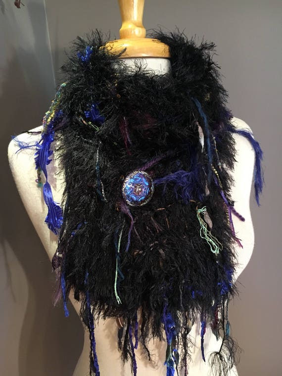 Handmade Knit Fringe Scarf with Button, Dumpster Diva, Black Purple Blue, handmade fur scarf,  Couture, fluffy scarves, boho, czech glass
