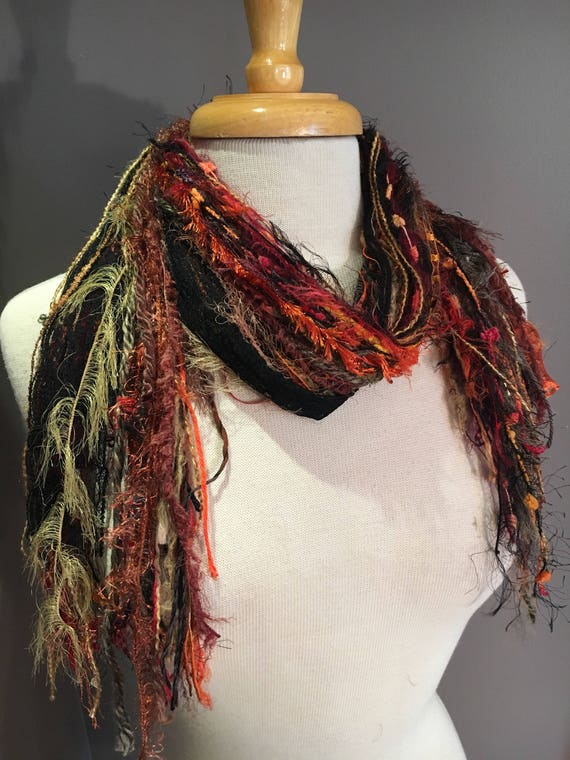 Fringie in Full Throttle, Multi-texture hand tied fringe scarf,  in Harley Davison colors, black orange, boho, fur scarf, fall color scarf