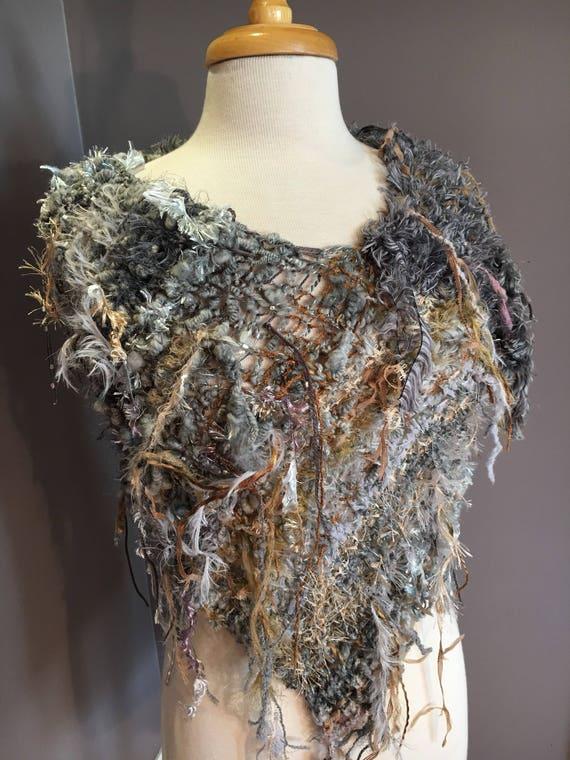 Fringed Plush Knit Poncho,  Dumpster Diva 'Pebbles' Mixed fiber Fringed Wrap, Fringed Ponchos, wearable art, huntress, hand spun gray mohair