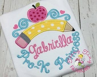 SALE Pre-K princess shirt ~ preschool princess ~ First Day of School shirt ~ Back 2 School shirt ~ princess ~ preschool ~ 1st day of school