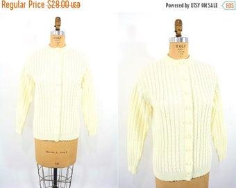 FINAL SALE 1960s knit cardigan | cream Kimlon cable knit sweater | vintage 60s cardigan | M/L