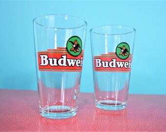 1980s beer glass | set of 2 Anheuser Busch Budweiser pint glasses | vintage 80s glasses