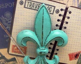 Fleur de lis FDL Cast Iron Painted Distressed Aqua Turquoise Wall Decor French Decor Paris Shabby Style Chic