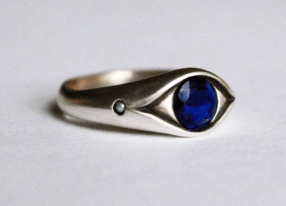 Magical Sterling Silver, Lapis Lazuli and Pearl Eye Ring