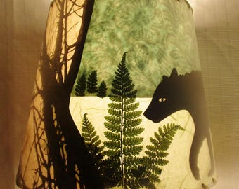 Bear Lamp Shade, Paper Collage Lampshade, Small Clip Top Drum Shade, Pressed Fern Lampshade, Black Bear, Ferns and Trees Decoupage Lampshade