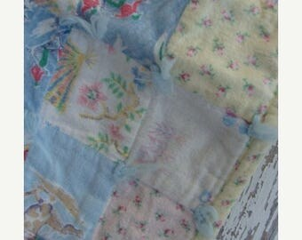 ONSALE 1930s Sweet and Thick Baby Blanket Needle Craft Quilt N060