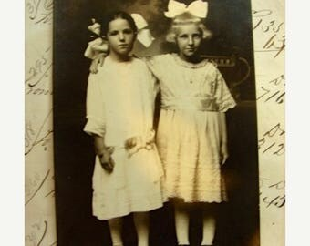 ONSALE Antique Unused RPC Gorgeous Sisters Best Friends in White Dresses