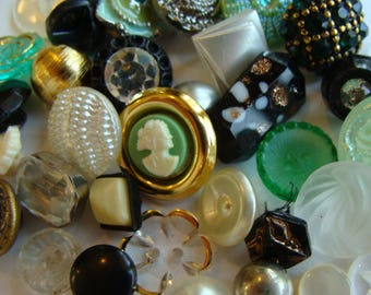 38 Gorgeous Antique Buttons Vintage Glass Buttons Rhinestone Wedding Small Button Jewelry Collection Lot N0 968