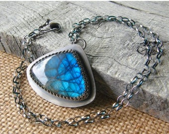 Summer Sale 20% Off Labradorite Teardrop Pendant Necklace, Sterling Silver Chain and Stone Pendant