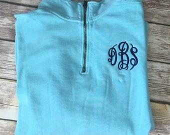 Comfort color 1/4 zip sweatshirt, personalized comfort color sweatshirt, comfor color hoodie, monogram hoodie