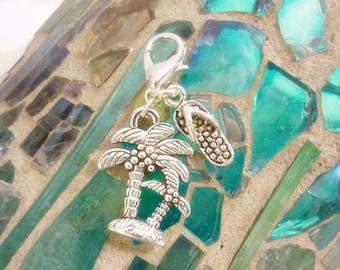 Palm Tree Flip Flop Beach Clip Charm,Beach Silver Clip Charm